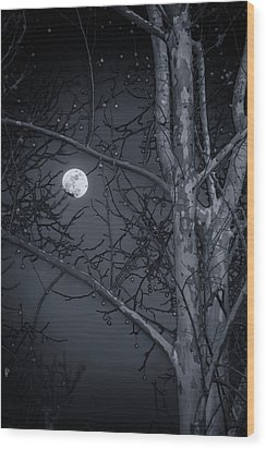 Wood Print featuring the photograph Early Moon In Black And White by Micah Goff