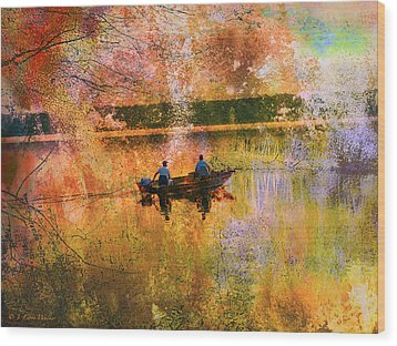 Early Morning Fishermen Looking For That Perfect Spot Wood Print by J Larry Walker