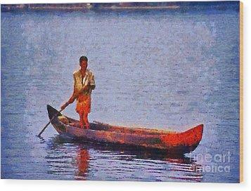 Early Morning Fishing In India Wood Print by George Atsametakis