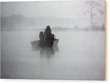 Early Morning Fishing Wood Print by Myrna Bradshaw