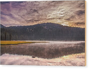Early Morning Lake Light Wood Print by Robert Bales