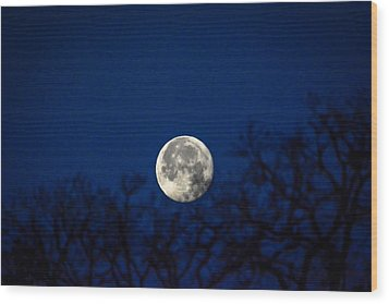 Early Morning Moon Wood Print
