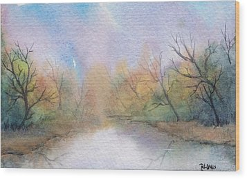 Wood Print featuring the painting Early Morning Waterway by Rebecca Davis