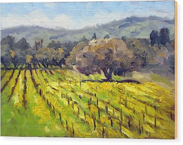 Early Mustard In The Vineyards Wood Print by Char Wood