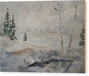 Wood Print featuring the painting Early Snow by Alan Lakin