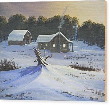 Early Snow Wood Print