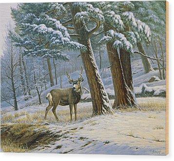 Early Snow- Mule Deer Wood Print by Paul Krapf