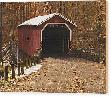 Wood Print featuring the photograph Early Snowfall On Wooden Covered Bridge by Bob Sample