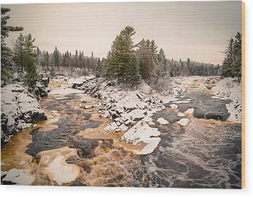 Wood Print featuring the photograph Early Snowfall On The Saint Louis River by Mark David Zahn