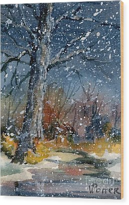 Early Snowfall Wood Print