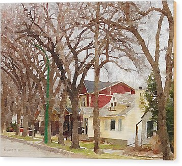 Early Spring Street Wood Print by Donald S Hall