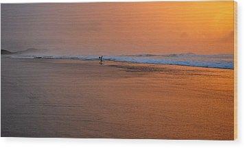 Dawn Sea Man Harmony Wood Print