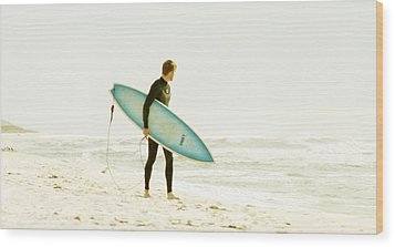 Early Surf Wood Print by Lindy Brown