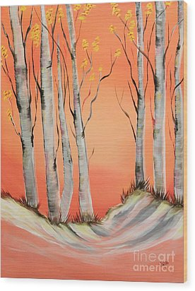 Wood Print featuring the painting Early Winter Aspen by Janice Rae Pariza