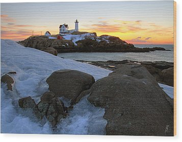 Early Winter Morning At Cape Neddick Lighthouse Wood Print by Brett Pelletier