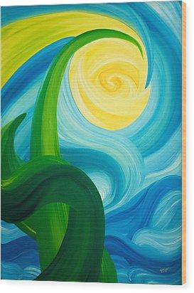 Earth And Sky Meet Wood Print by Ginny Gaura