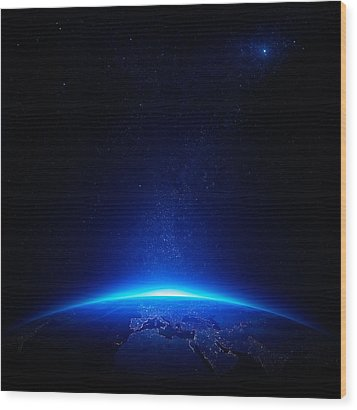 Earth At Night With City Lights Wood Print by Johan Swanepoel