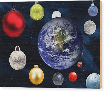 Earth Christmas 2 Wood Print by Bruce Iorio