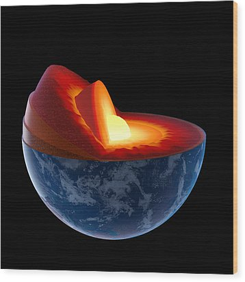 Earth Core Structure - Isolated Wood Print by Johan Swanepoel