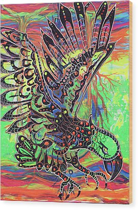 Earth Eagle Wood Print by Lorinda Fore and Tony Lima