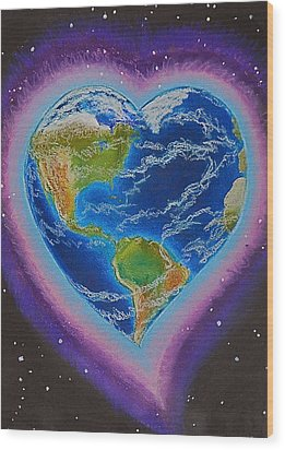 Earth Equals Heart Wood Print by R Neville Johnston