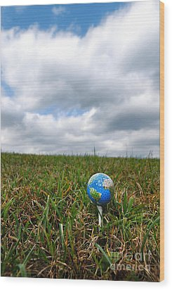 Earth Golf Ball On Tee Wood Print by Amy Cicconi