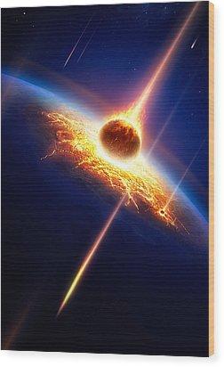 Earth In A  Meteor Shower Wood Print by Johan Swanepoel