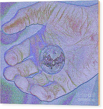 Earth In Hand Wood Print by First Star Art