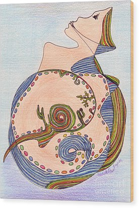 Wood Print featuring the drawing Earth In Harmony by Mukta Gupta