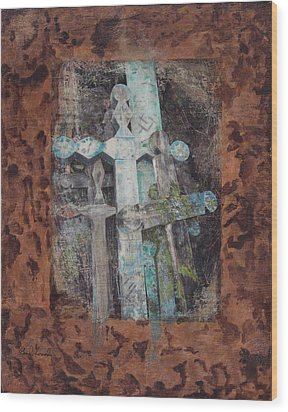 Wood Print featuring the mixed media Earth Lord Shrine II by Carla Woody