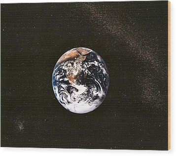 Earth Seen From Apollo 17 Africa And Antarctica Visible Wood Print by Anonymous