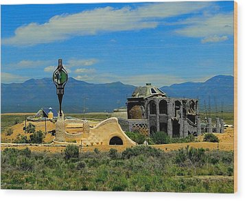 Earth Ships Of New Mexico Wood Print by Cindy Croal
