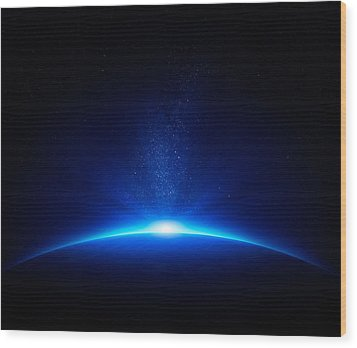 Earth Sunrise In Space Wood Print by Johan Swanepoel