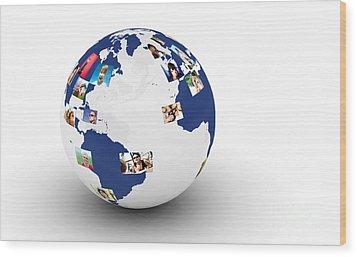 Earth With People Photos In Network Wood Print by Michal Bednarek