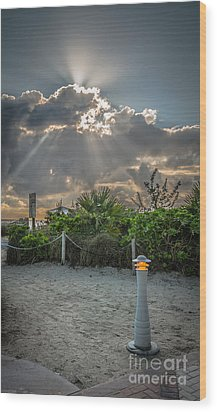 Earthly Light And Heavenly Light - Hdr Style Wood Print by Ian Monk
