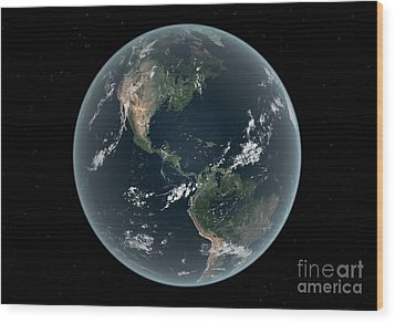 Earths Western Hemisphere With Rise Wood Print by Walter Myers