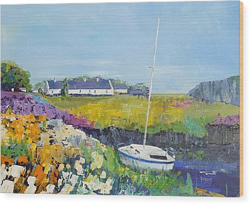 Easdale Cottages Wood Print by Peter Tarrant