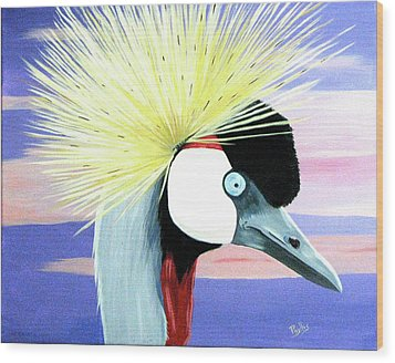 East African Crowned Crane Wood Print by Phyllis Kaltenbach
