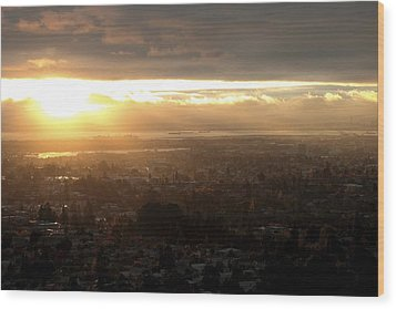 East Bay Sunset Wood Print by Lennie Green
