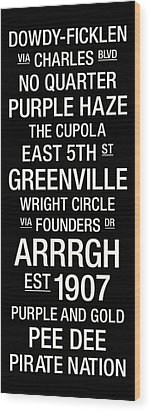 East Carolina College Town Wall Art Wood Print by Replay Photos