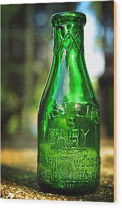 East End Dairy Green Milk Bottle Wood Print