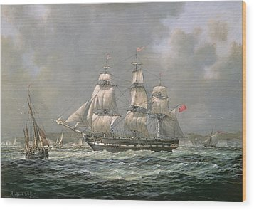 East Indiaman Hcs Thomas Coutts Off The Needles     Isle Of Wight Wood Print by Richard Willis