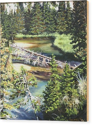 East Rosebud Inlet Stream Wood Print by Patti Gordon