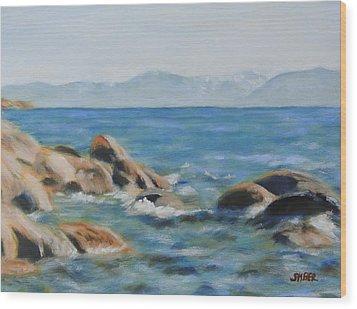 East Shore Rocks Wood Print