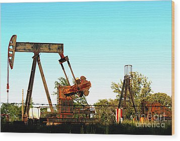 East Texas Oil Field Wood Print by Kathy  White