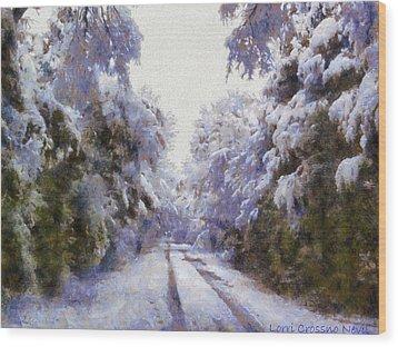 East Texas Snow Day Wood Print by Lorri Crossno