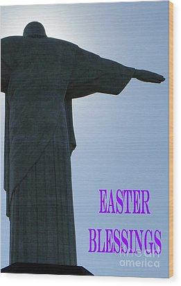 Easter Blessings Card Wood Print by Barbie Corbett-Newmin