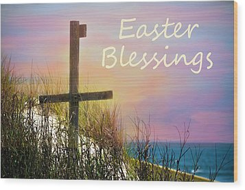 Easter Blessings Cross Wood Print by Sandi OReilly