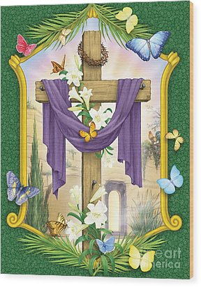 Easter Cross Wood Print