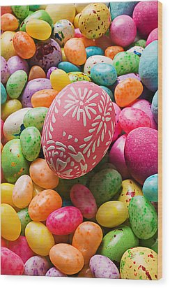 Easter Egg And Jellybeans  Wood Print by Garry Gay